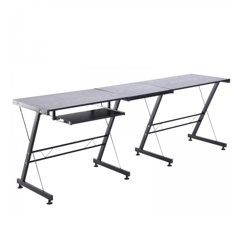 Mesa De Ordenador Elton Estructura Metálica Bandeja Para Teclado Color Negro