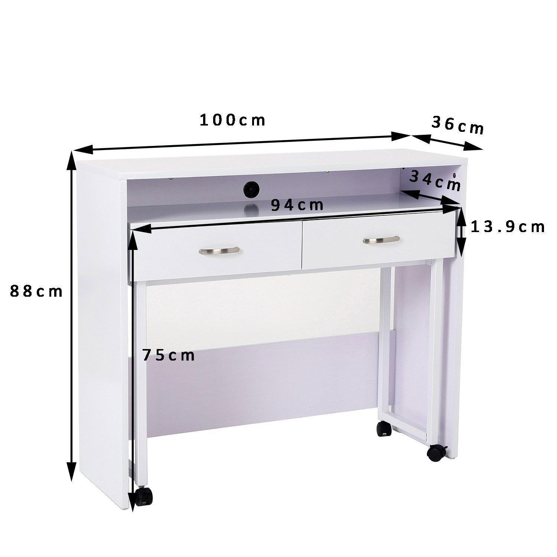 Set de 2 escritorios bengala en madera color blanco set for Escritorios para oficina dimensiones