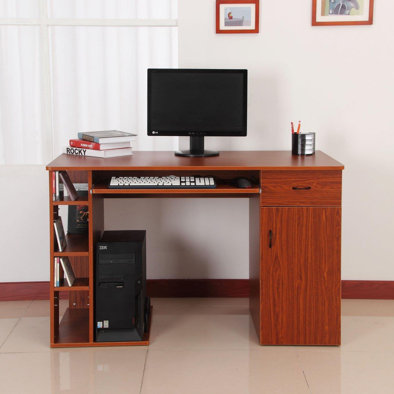 Mesa de ordenador guinea en madera color cerezo for Mesa de ordenador con ruedas