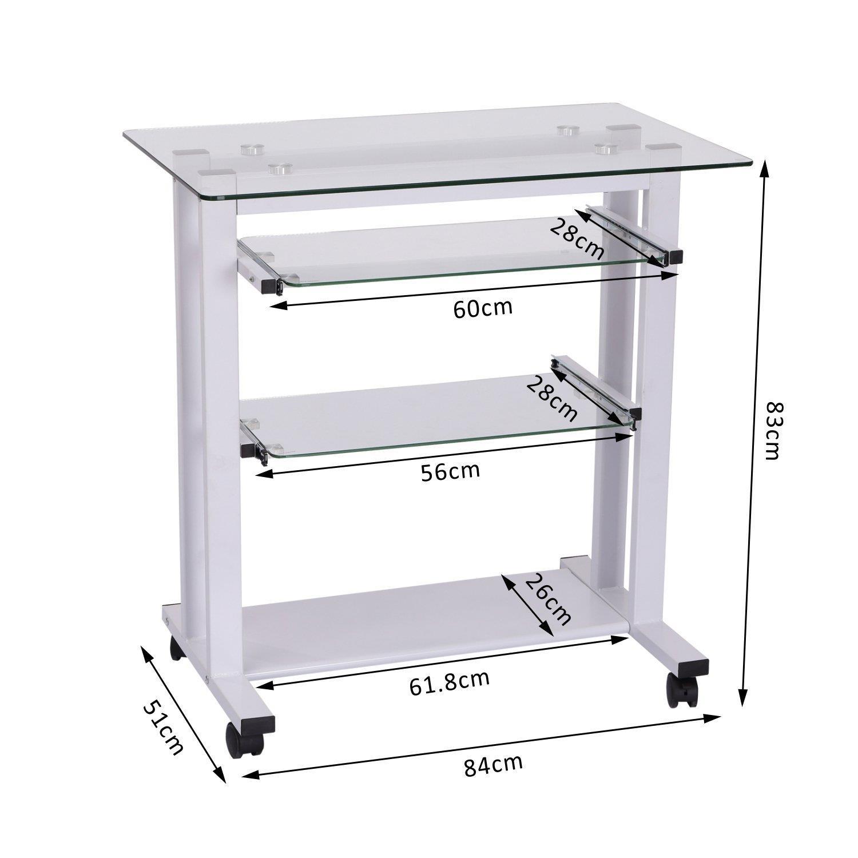 Mesa de ordenador tokin compacta 80x51x83 cm en cristal for Mesas de ordenador de diseno