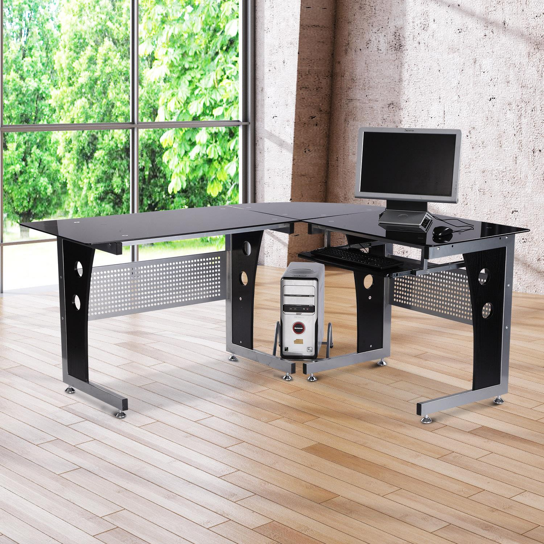Mesa de ordenador VOCAR en madera y cristal color negro - Ofisillas.es