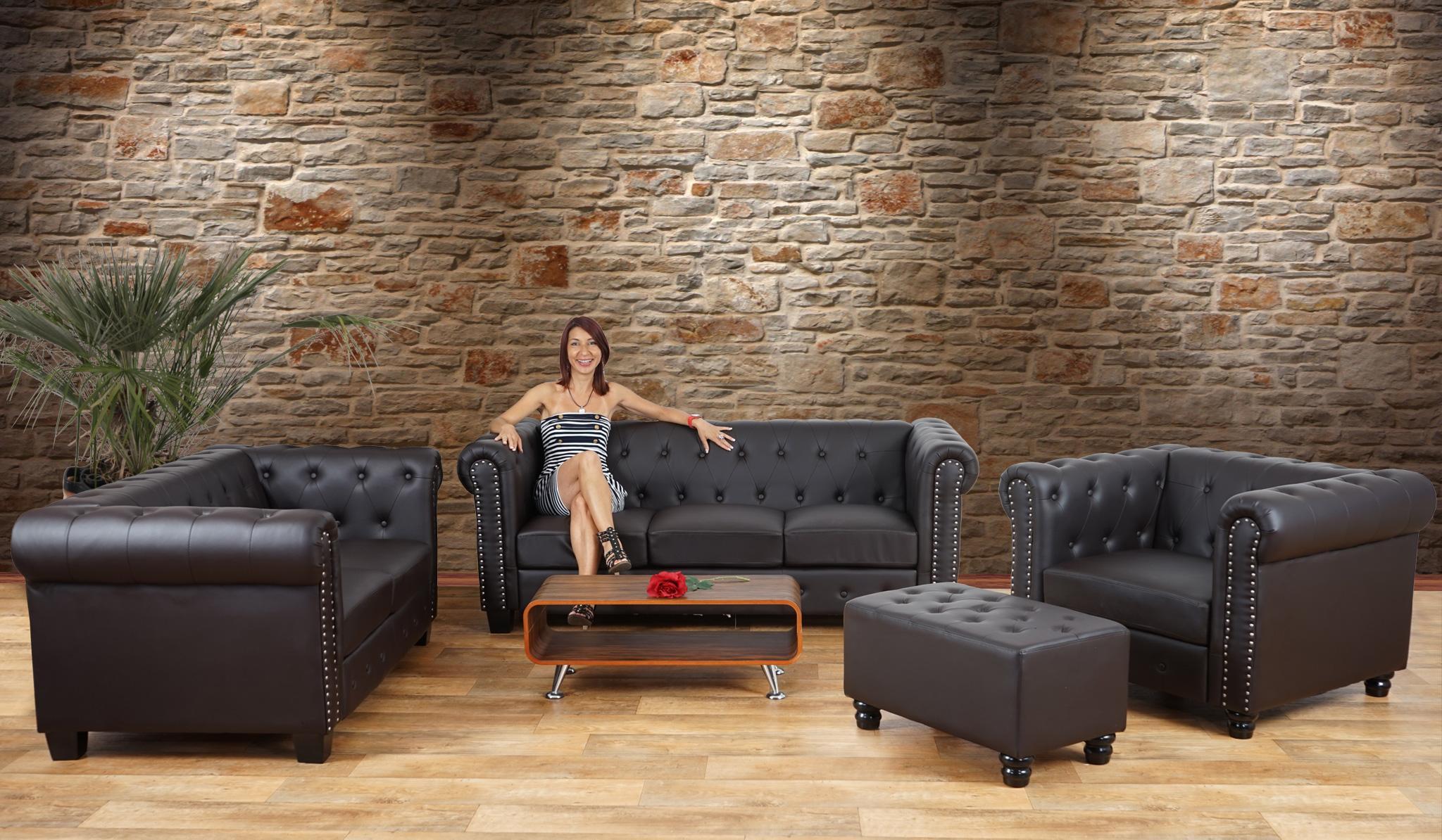 Sofa De 2 Plazas Chester Muy Elegante En Piel Color Negro Sofa