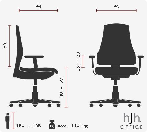 Silla de oficina modelo CARINA, Adaptada uso 8h, Soporte Lumbar Ajustable en Negro y Rojo