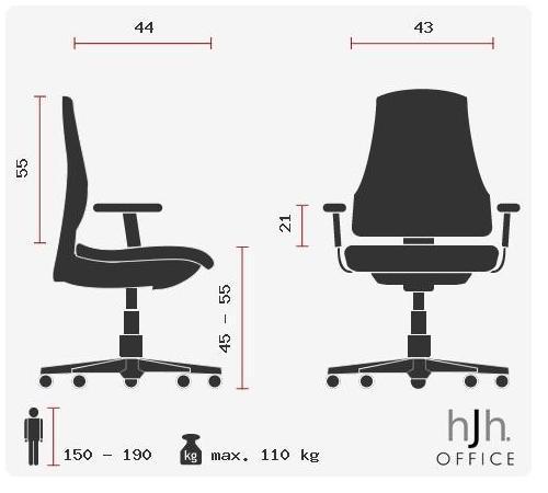 Moderna Silla de Oficina ELISA, Elegante Diseño, Base Aluminio, Uso Hasta 8 horas, Negro