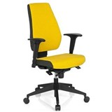 Silla Oficina Ergonómica DETROIT, Homologada para 8 h, 100% Regulable, Color Amarillo