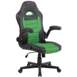 Silla de Ordenador Gaming LOTUS, reposabrazos abatibles, en piel y malla transpirable color verde