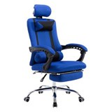 Silla de Oficina / Gaming ANTARES, Reclinable, Reposapiés Extensible, en Malla Transpirable color Azul