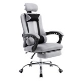 Silla de Oficina / Gaming ANTARES, Reclinable, Reposapiés Extensible, en Malla Transpirable color Gris