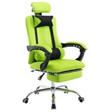 Silla de Oficina / Gaming ANTARES, Reclinable, Reposapiés Extensible, en Malla Transpirable color Verde