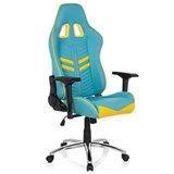Silla Gaming TARGA, Respaldo Reclinable, Cojines Incluidos, Base de Metal, En Azul y Amarillo