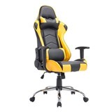 Silla Gaming ZELDA, Respaldo Reclinable, Cojines Incluidos, Base de Metal, En Negro/Amarillo