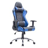 Silla Gaming ZELDA, Respaldo Reclinable, Cojines Incluidos, Base de Metal, En Negro/Azul