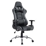 Silla Gaming ZELDA, Respaldo Reclinable, Cojines Incluidos, Base de Metal, En Negro/Gris