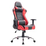 Silla Gaming ZELDA, Respaldo Reclinable, Cojines Incluidos, Base de Metal, En Negro/Rojo