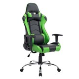 Silla Gaming ZELDA, Respaldo Reclinable, Cojines Incluidos, Base de Metal, En Negro/Verde