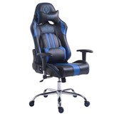 Silla Gaming LOGAN, Respaldo Reclinable, Cojines Incluidos, Base de Metal, En Negro/Azul