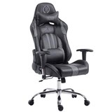 Silla Gaming LOGAN, Respaldo Reclinable, Cojines Incluidos, Base de Metal, En Negro/Gris