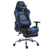 Silla Gaming LOGAN con Reposapiés, Respaldo Reclinable, Cojines Incluidos, Base de Metal, En Negro/Azul