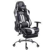 Silla Gaming LOGAN con Reposapiés, Respaldo Reclinable, Cojines Incluidos, Base de Metal, En Negro/Blanco