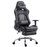 Silla Gaming LOGAN con Reposapiés, Respaldo Reclinable, Cojines Incluidos, Base de Metal, En Negro/Marrón