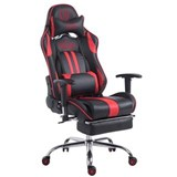 Silla Gaming LOGAN con Reposapiés, Respaldo Reclinable, Cojines Incluidos, Base de Metal, En Negro/Rojo