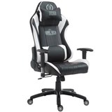 Silla Gaming TURBO, Respaldo Reclinable, Cojines Lumbar y Cervical, En Piel Negro/Blanco