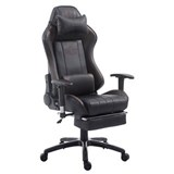 Silla Gaming TURBO con Reposapiés, Respaldo Reclinable, Cojines Lumbar y Cervical, En Piel Negro/Marrón