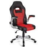 Silla de Ordenador Gaming LOTUS, reposabrazos abatibles, en piel y malla transpirable color rojo