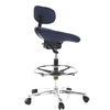 Taburete de trabajo con ruedas modelo WORK MV, Muy cómodo, Postura ergonómica, Azul