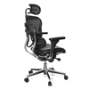 Elegante silla ERGOPLUS BASE, toda clase de extras, totalmente regulable, asiento en piel, color Negro