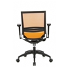 Silla de oficina modelo CARINA, Adaptada uso 8h, Soporte Lumbar Ajustable en Negro y Naranja