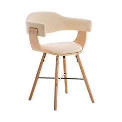 Silla modelo BARRY, Diseño 100% Vanguardista y Actual, En Madera y Piel, Color Crema