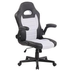Silla de Ordenador Gaming LOTUS, reposabrazos abatibles, en piel y malla transpirable color blanco