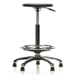 Taburete Fijo TOP WORK 16, Base y Reposapiés en Metal, Ajustable, Color Negro