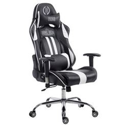 Silla Gaming LOGAN, Respaldo Reclinable, Cojines Incluidos, Base de Metal, En Negro/Blanco